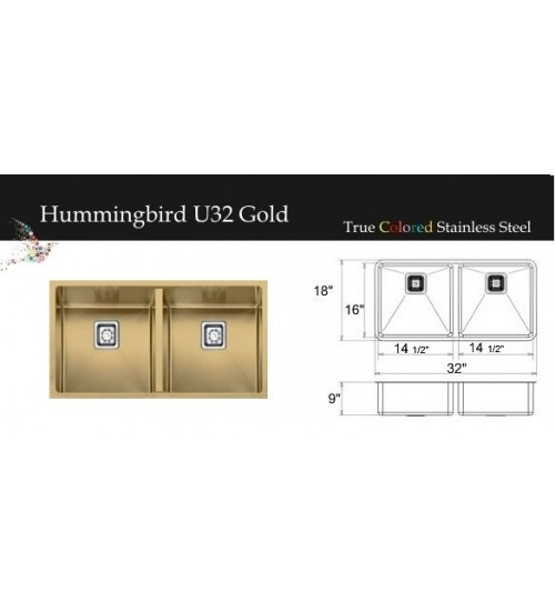 "Hummingbird Series Gold 32""W"